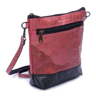 Leaf Leather Shoulder Bag - Pink/Black